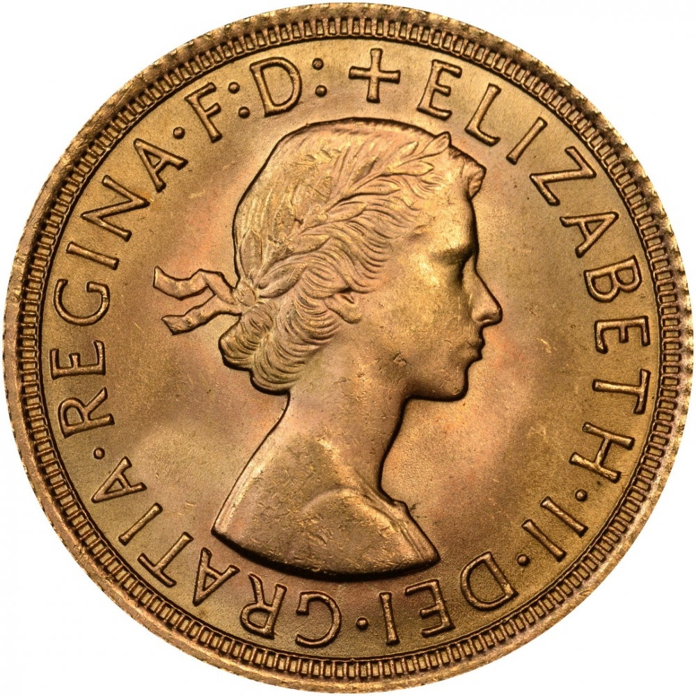 1 Sovereign 1957-1968, KM# 908, United Kingdom (Great Britain), Elizabeth II