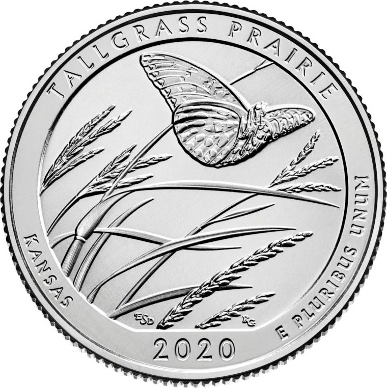 25 Cents 2020, United States of America (USA), America the Beautiful Quarters Program, Kansas, Tallgrass Prairie National Preserve