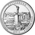 25 Cents 2011, KM# 494, United States of America (USA), America the Beautiful Quarters Program, Pennsylvania, Gettysburg National Military Park