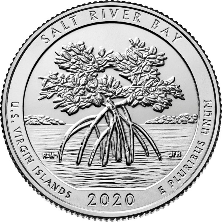 25 Cents 2020, United States of America (USA), America the Beautiful Quarters Program, U.S. Virgin Islands, Salt River Bay National Historical Park and Ecological Preserve