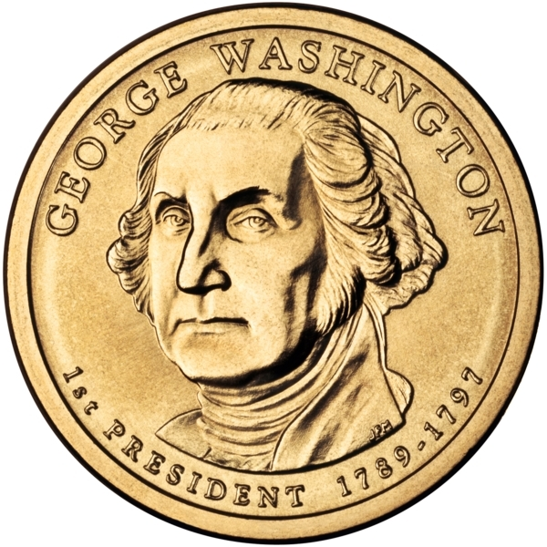 1 Dollar 2007, KM# 401, United States of America (USA), Presidential $1 Coin Program, George Washington, Obverse