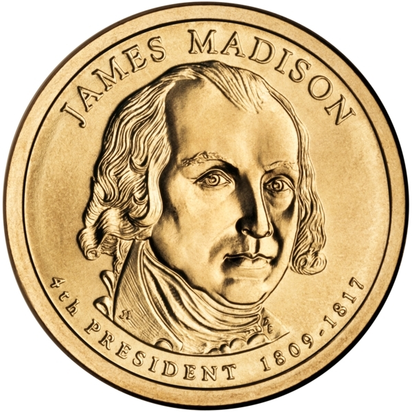 1 Dollar 2007, KM# 404, United States of America (USA), Presidential $1 Coin Program, James Madison, Obverse