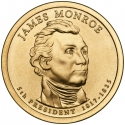 1 Dollar 2008, KM# 426, United States of America (USA), Presidential $1 Coin Program, James Monroe