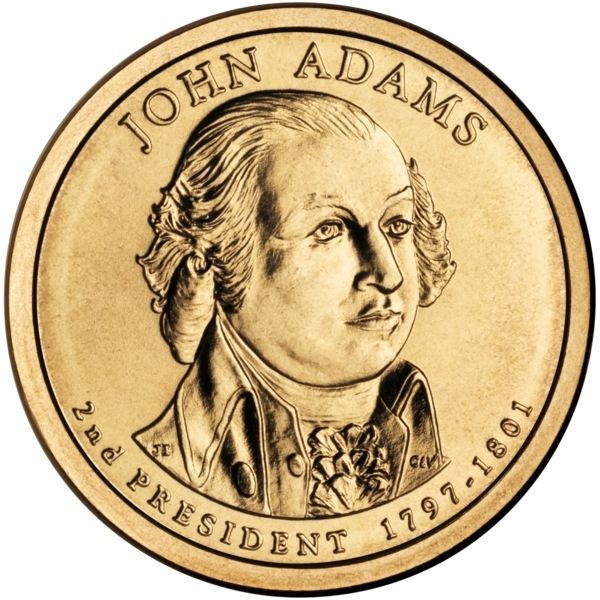 1 Dollar 2007, KM# 402, United States of America (USA), Presidential $1 Coin Program, John Adams, Obverse