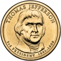 1 Dollar 2007, KM# 403, United States of America (USA), Presidential $1 Coin Program, Thomas Jefferson