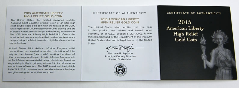 100 Dollars 2015, United States of America (USA), American Eagles, American Liberty High Relief Gold, Certificate of authenticity
