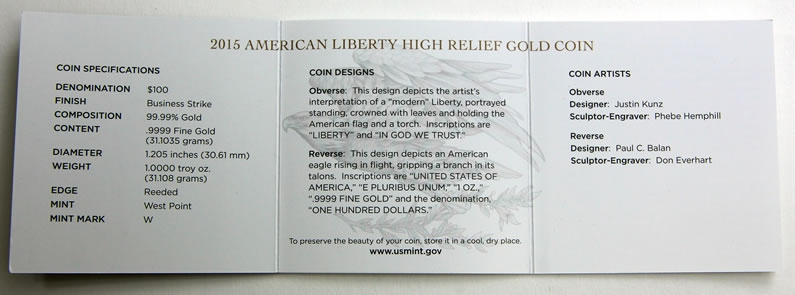 100 Dollars 2015, United States of America (USA), American Eagles, American Liberty High Relief Gold, Specification and design descriptions