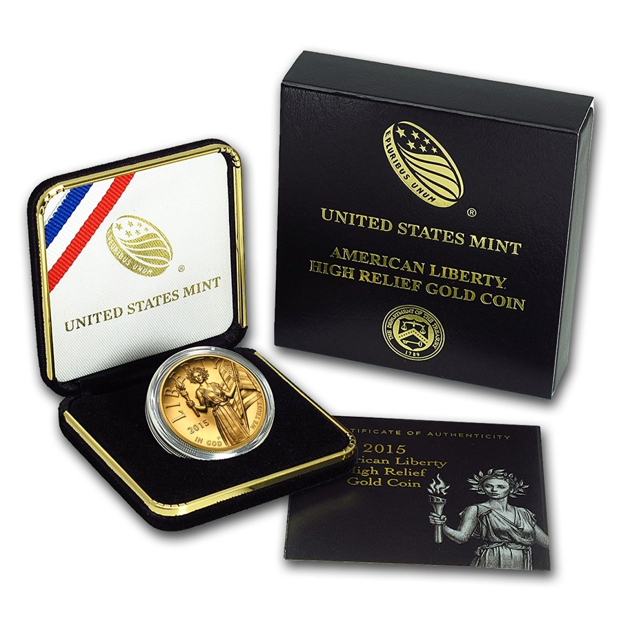 100 Dollars 2015, United States of America (USA), American Eagles, American Liberty High Relief Gold, Box with certificate of authenticity