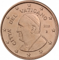 1 Euro Cent 2014-2016, KM# 455, Vatican City, Pope Francis