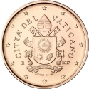 1 Euro Cent 2017-2020, Vatican City, Pope Francis