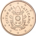 5 Euro Cent 2017-2020, Vatican City, Pope Francis