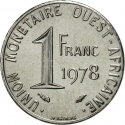 1 Franc 1976-2011, KM# 8, West African States